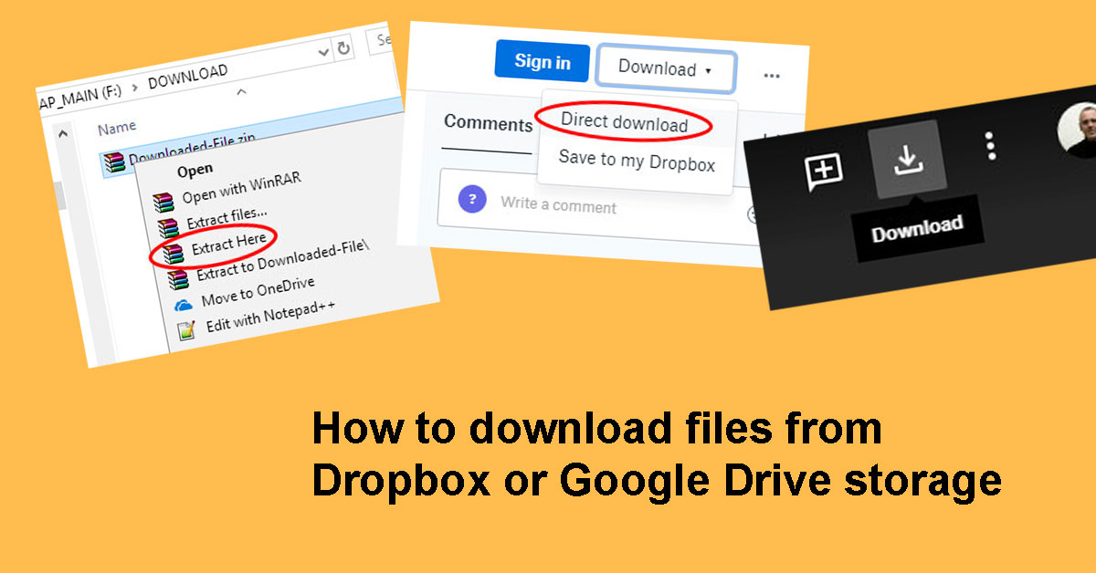 How to download files from Dropbox or Google Drive storage